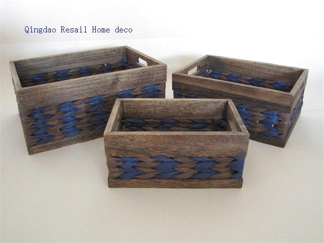 & rectangular wooden storage basket with handle